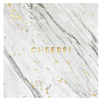 HARLOW & GREY White Marble Cheers Cocktail Napkins