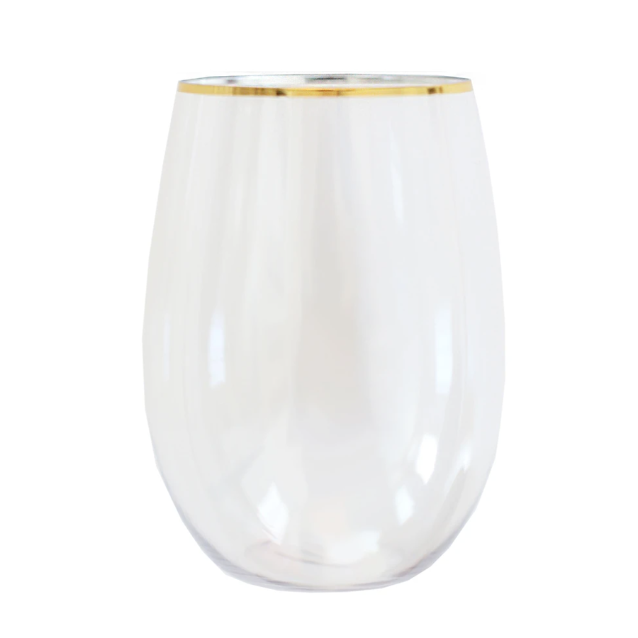 Gold Rimmed Stemless Plastic Wine Glasses
