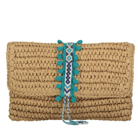 Reese Straw Clutch Peacock