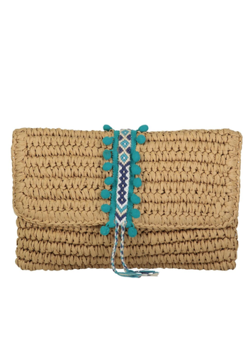 FALLON & ROYCE Reese Straw Clutch Peacock