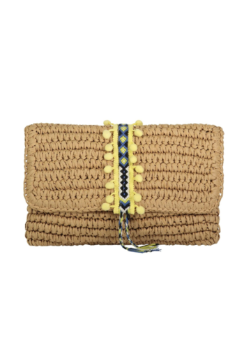 FALLON & ROYCE Reese Straw Clutch - Lemon
