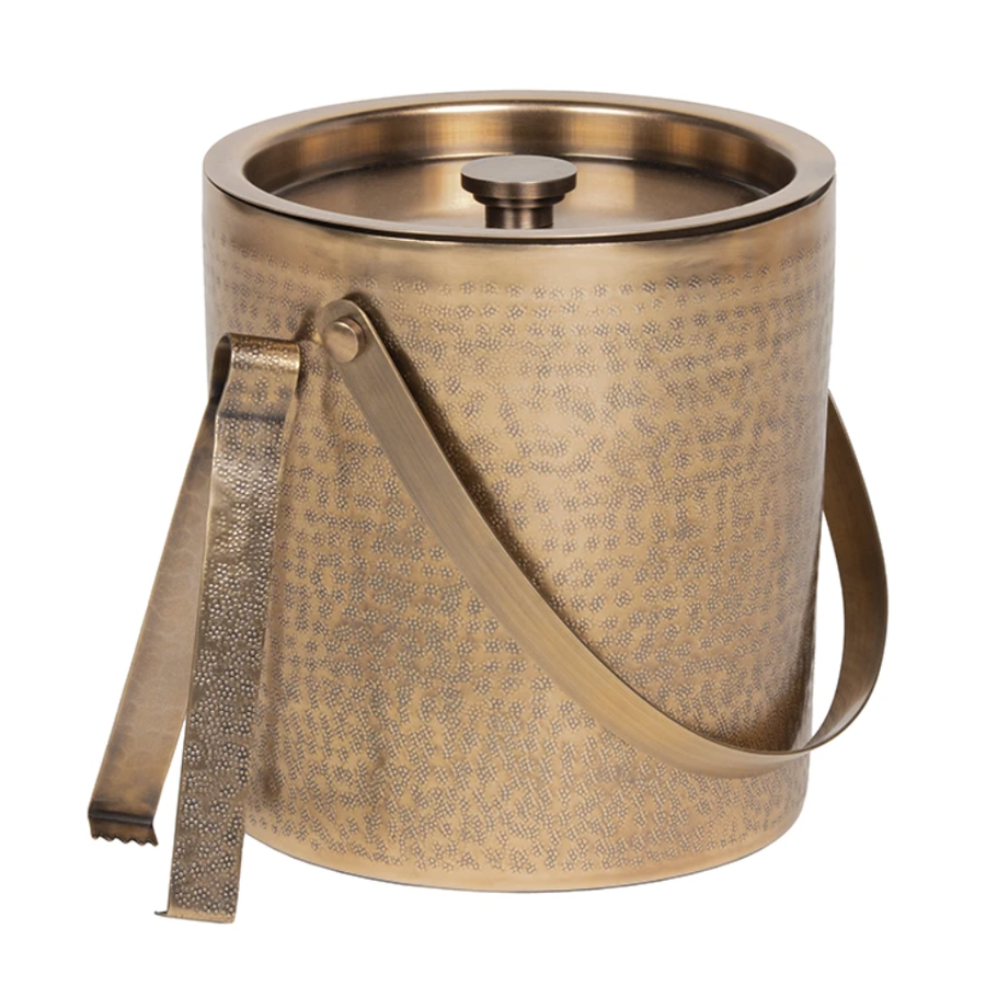 Antique Brass Ice Bucket with Tongs