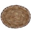 BLUE PHEASANT Bondi Round Placemat Natural Cowrie Shell/Brown Pandan Leaf Oval