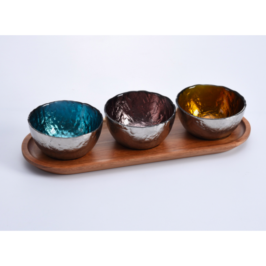 Colored Glass Bowls & Tray