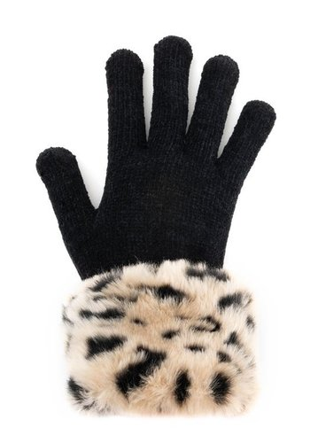 FABULOUS FURS Cheetah Faux Fur Tech Gloves