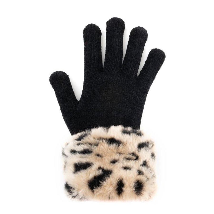 Cheetah Faux Fur Trimmed Tech Gloves