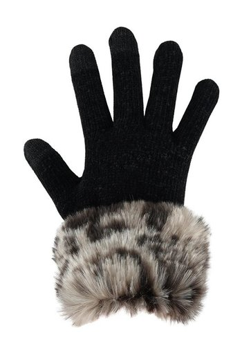 FABULOUS FURS Ghost Leopard Trim Gloves