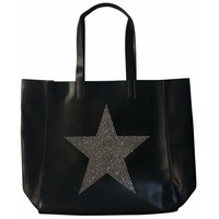 Black Tote with Silver Crystal Star