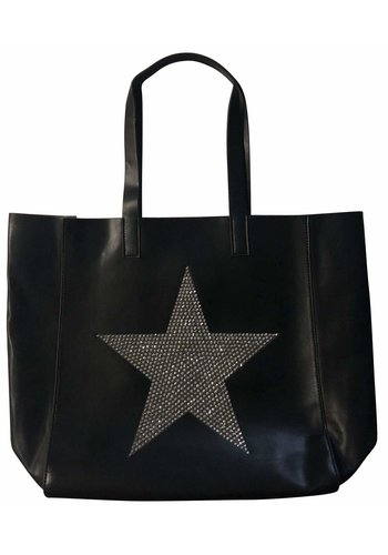 AHDORNED Black Tote with Silver Crystal Star