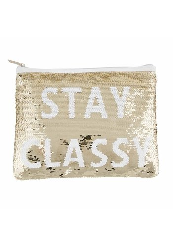 MUD PIE Gold Sequin Swipe Pouch