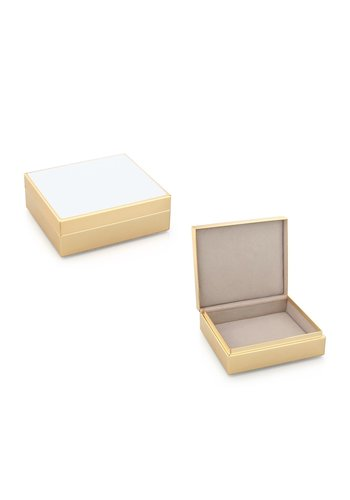 ADDISON ROSS White Enamel & Gold Box