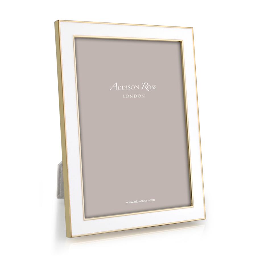 8x10 White Enamel & Gold Frame