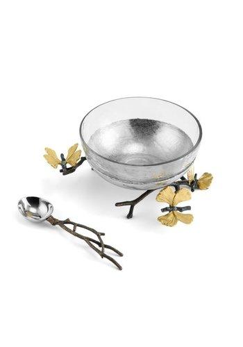 MICHAEL ARAM Butterfly Ginkgo Glass Nut Dish w/ Spoon