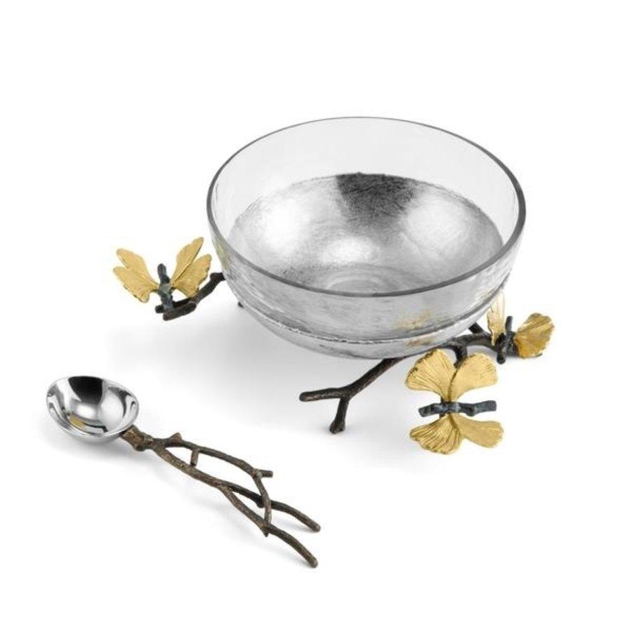 Butterfly Ginkgo Glass Nut Dish w/ Spoon