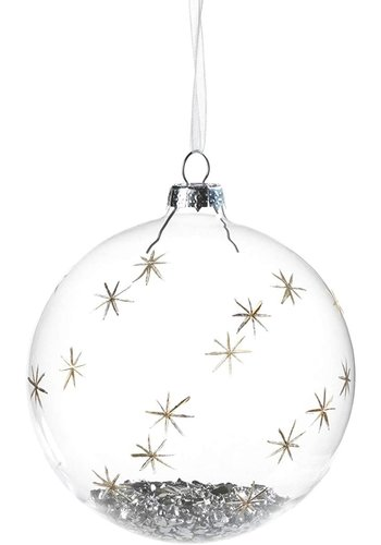 ZODAX Clear and Silver Glass Ball Ornament