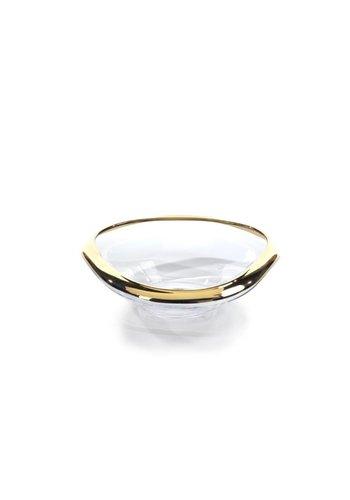 ZODAX Mimar Glass Wave Fruit Bowl w/ Gold Rim