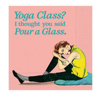 Cocktail Napkin - Yoga Class Pour A Glass