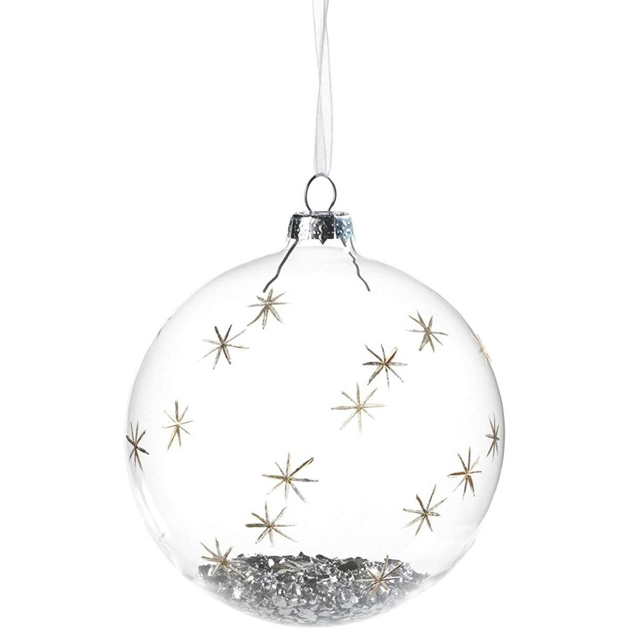 Clear and Silver Glass Ball Ornament