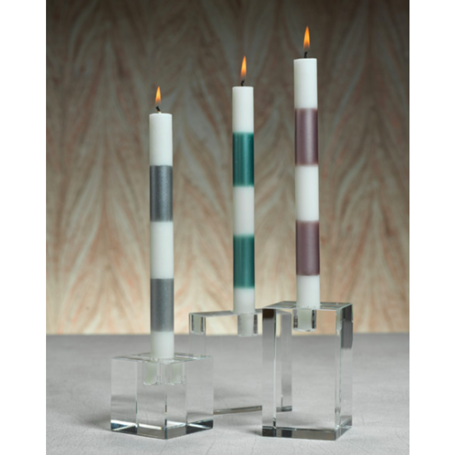 Crystal Glass Taper Candle Holders, Square