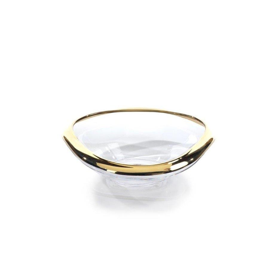 Mimar Glass Wave Fruit Bowl w/ Gold Rim