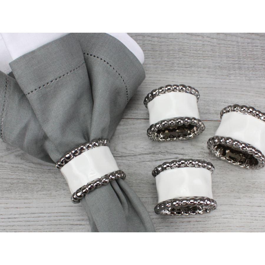 Napkin Ring Set of 4 - White