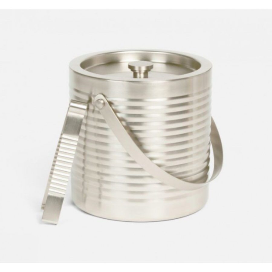 Clare Matte Nickel Ice Bucket W/ Tongs