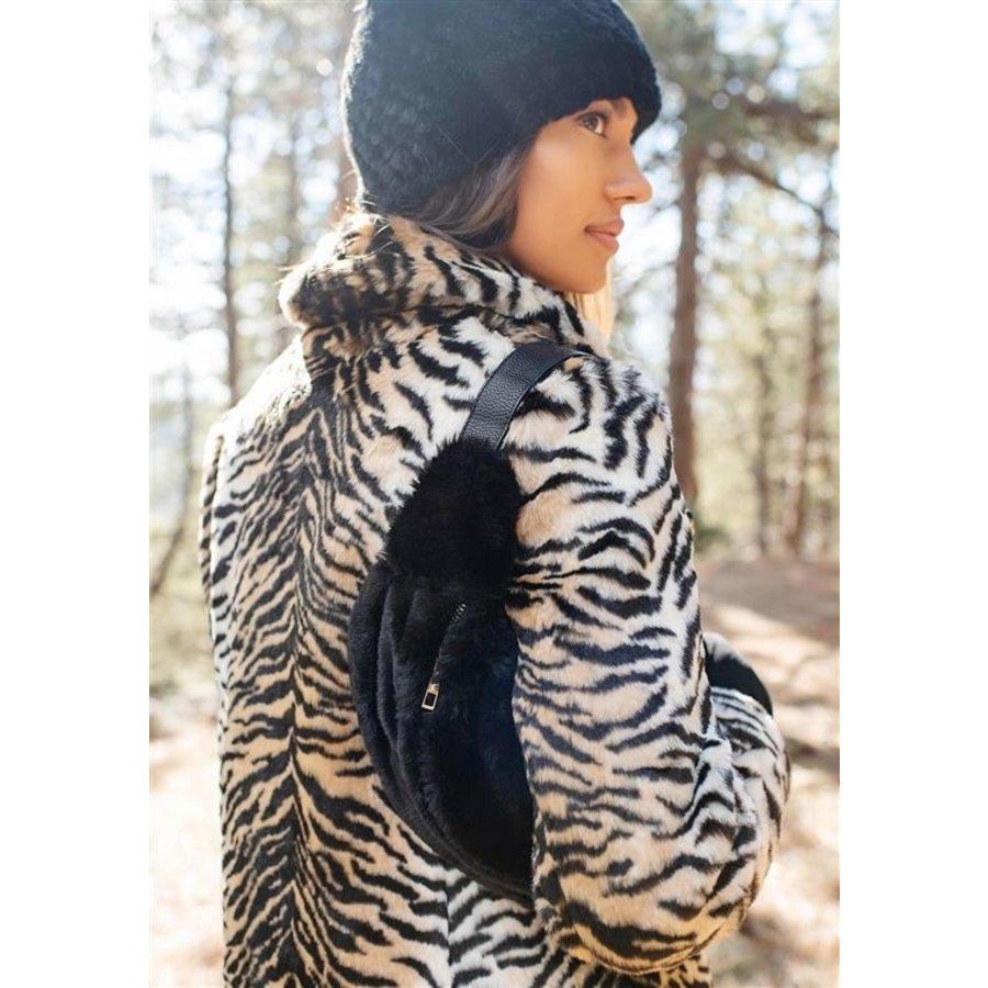 Faux Fur Belt Bag- Black