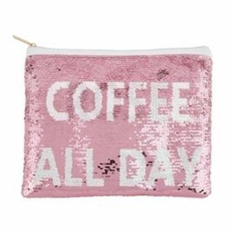 Coffee All Day Sequin Carry- All Case