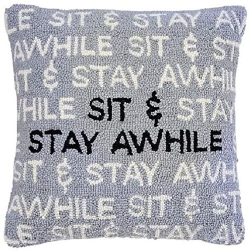 MUD PIE Sit & Stay Awhile Pillow