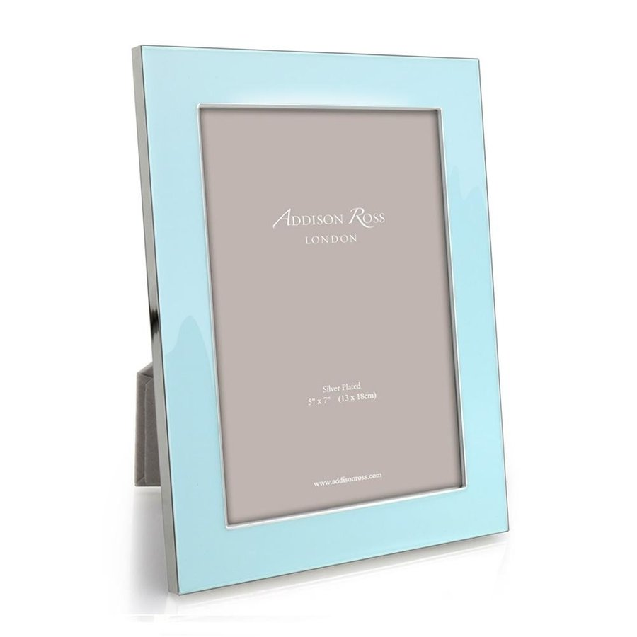 Ice Blue Enamel & Silver 5x7 Frame