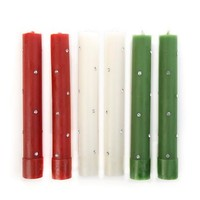 Mini Sparkle Dinner Candles - Red & Green