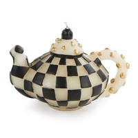 Check Teapot Candle - Black