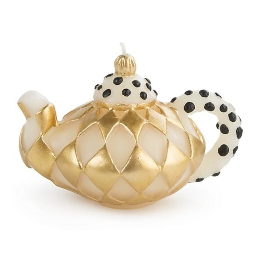 Harlequin Teapot Candle - Gold