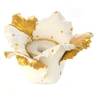 Daffodil Candle Holder - Gold & White