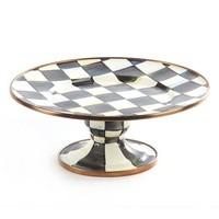 Courtly Check Enamel Pedestal Platter - Mini