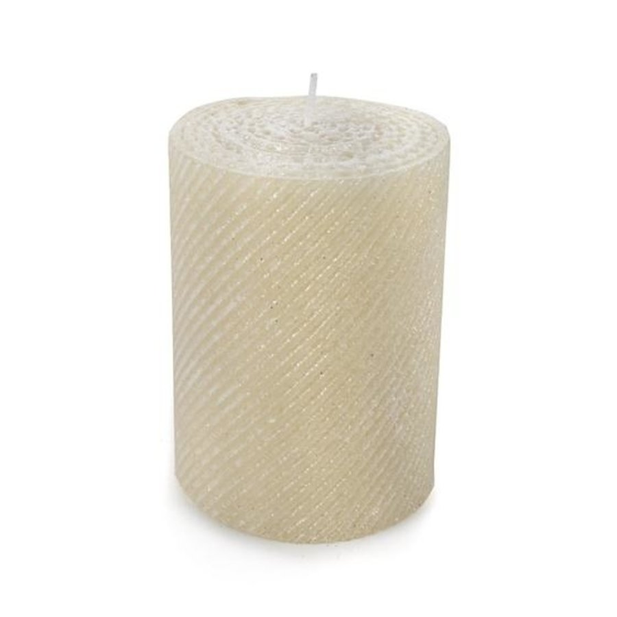 "Shimmer Pillar Candle - 4"" - Pearl"