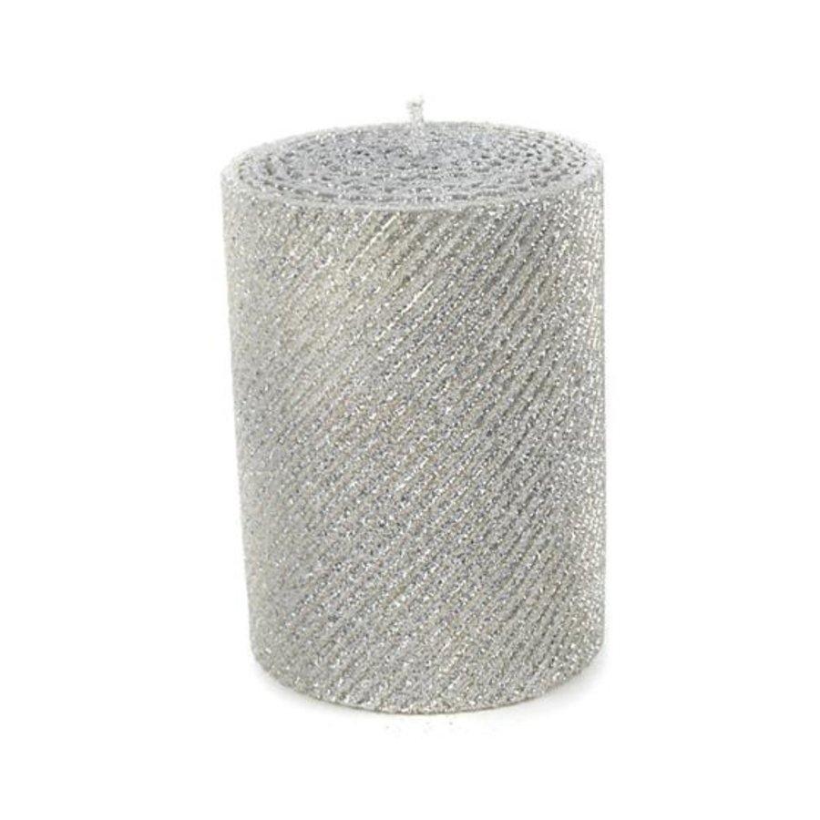 "Shimmer Pillar Candle - 4"" - Silver"