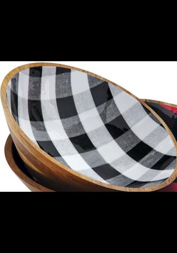 MUD PIE Buffalo Check Black Bowl - Medium