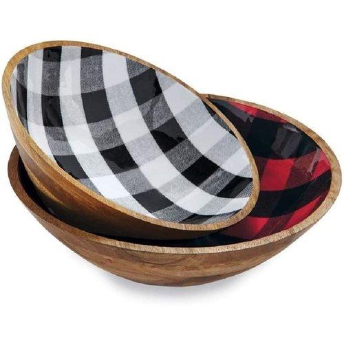 MUD PIE Buffalo Check Red Bowl - Large