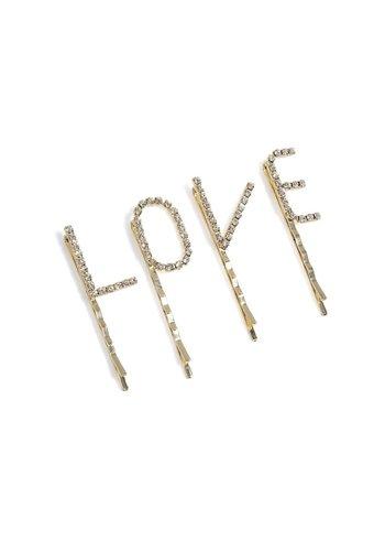 SHIRALEAH Love Set of Hair Pins, Gold