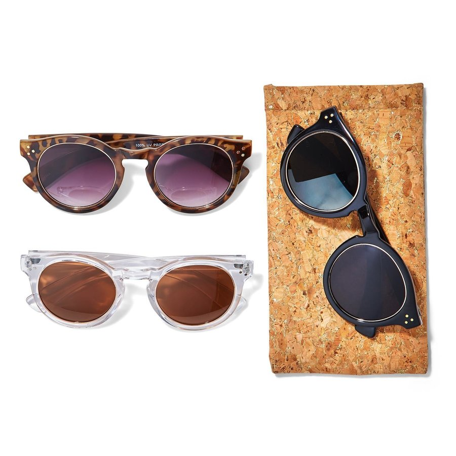 Sunglasses w Gold Ring Lenses in Cork Pouch