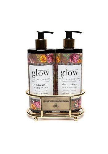 MACKENZIE CHILDS Golden Hour Soap & Lotion Caddy Set