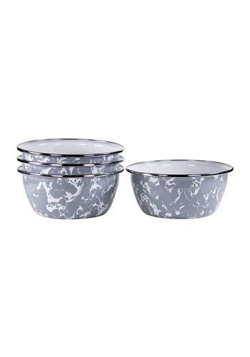 GOLDEN RABBIT Grey Swirl Salad Bowls