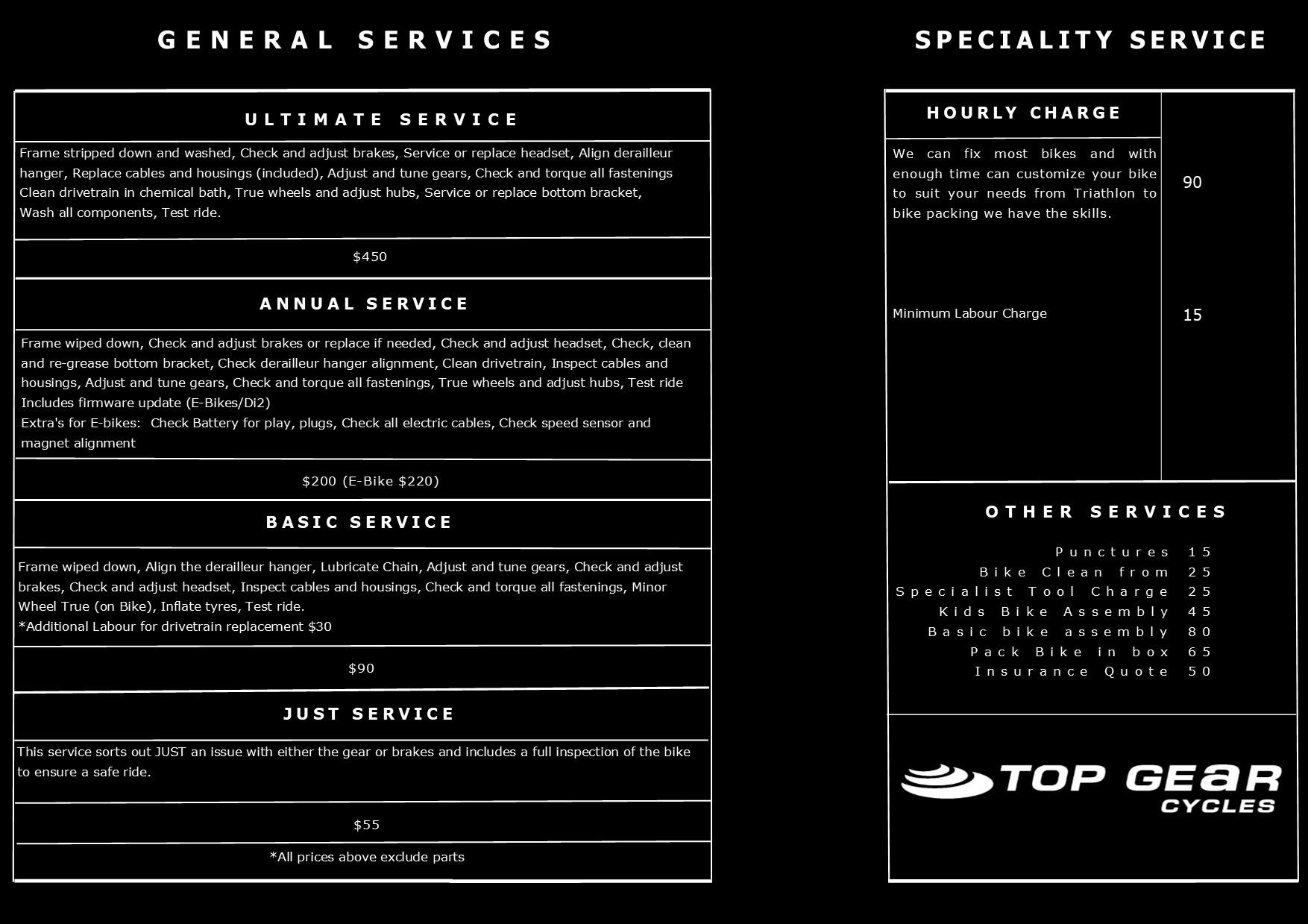 Service Menu 2019