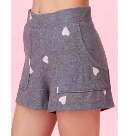 LNA BRUSHED HEART PRINT SHORTS