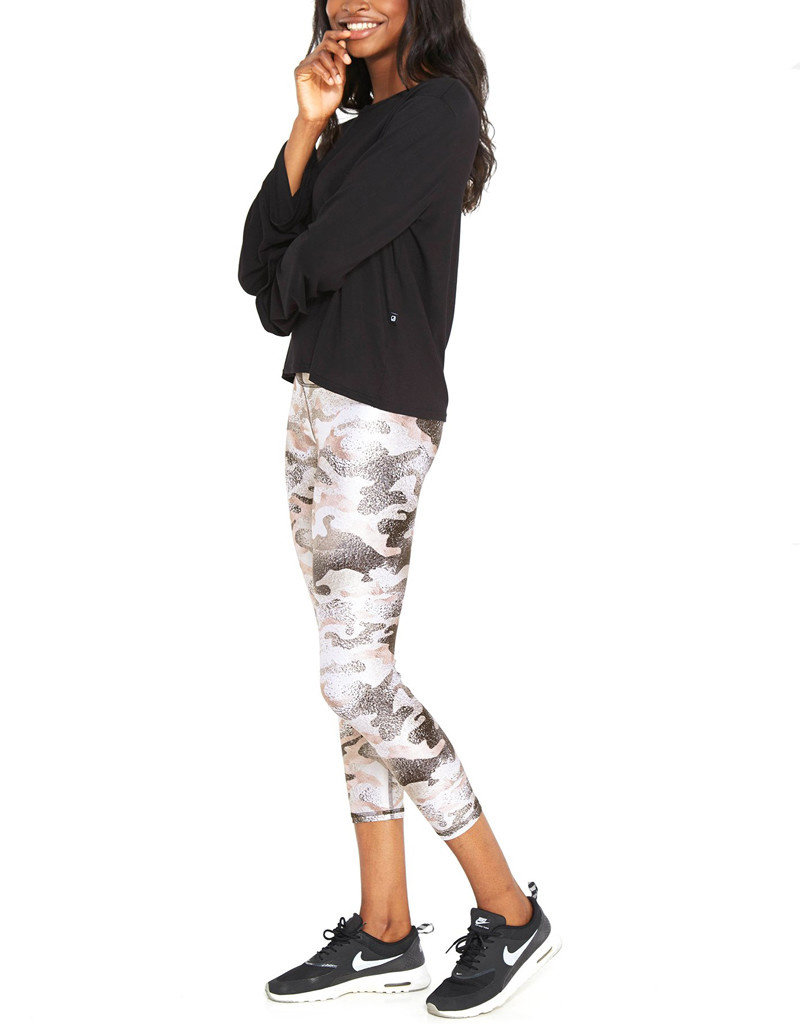 TEREZ METALLIC NEUTRAL CAMO TALL BAND CAPRI