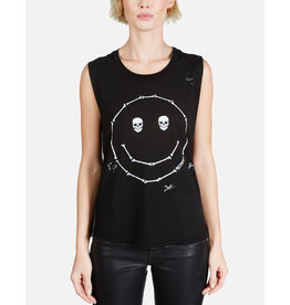 LAUREN MOSHI KEL SKULL EYE HAPPYFACE SCOOP NECK MUSCLE TANK