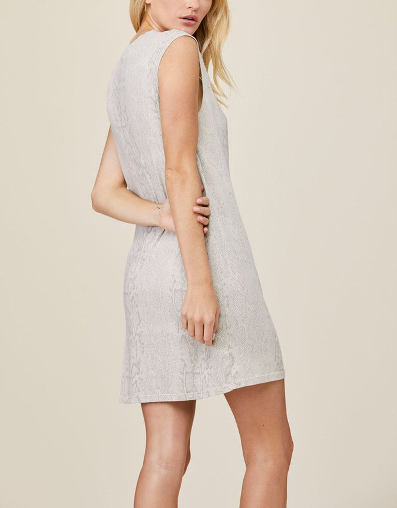 LNA SNAKESKIN DOUBLE CUT TANK DRESS