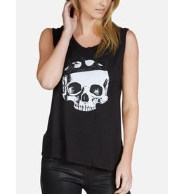 LAUREN MOSHI CRYSTAL ROYAL SKULL MUSCLE TANK
