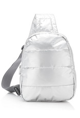 HI LOVE TRAVEL CROSSBODY BACKPACK – METALLIC SILVER